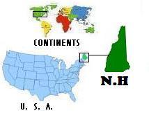 Map of World, United States, & New Hampshire